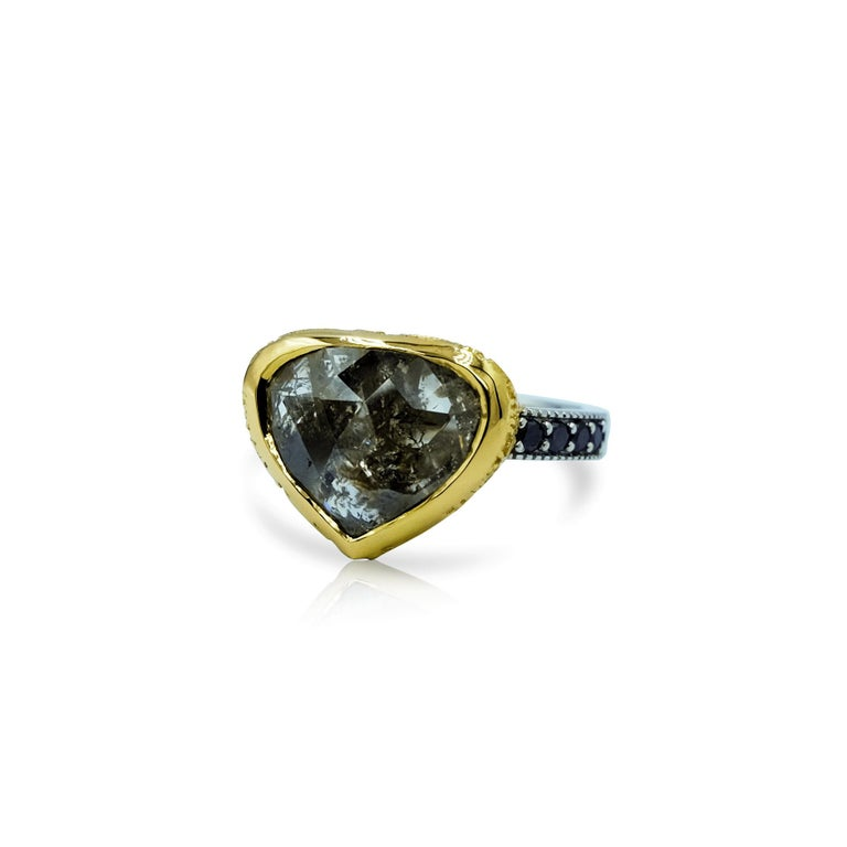 Contemporary Luca Jouel One Only 5.47 Carat Rose Cut Diamond Ring in Gold and Platinum For Sale