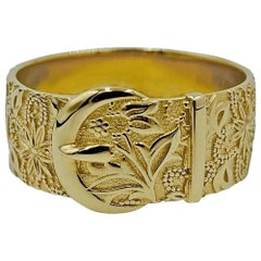 Luca Jouel Ornate Floral Buckle Ring in Yellow Gold