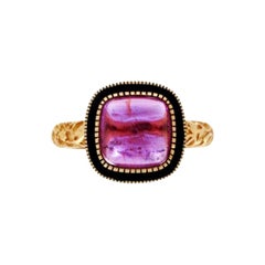 Luca Jouel Ornate Pink Tourmaline Cabochon Deco Style Ring in Yellow Gold