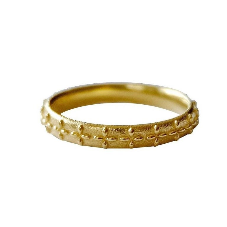 Luca Jouel Patterned Gold Crosse Ring