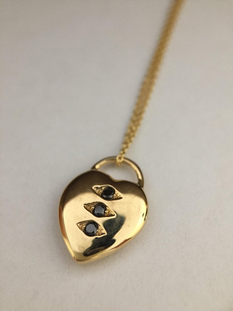 Contemporary Luca Jouel Petite Black Diamond Heart Necklace in Yellow Gold For Sale