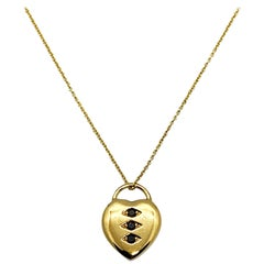 Luca Jouel Petite Black Diamond Heart Necklace in Yellow Gold