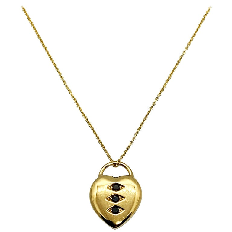 Luca Jouel Petite Black Diamond Heart Necklace in Yellow Gold For Sale
