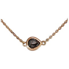Luca Jouel Petite Charcoal Pear Diamond Necklace in Rose Gold