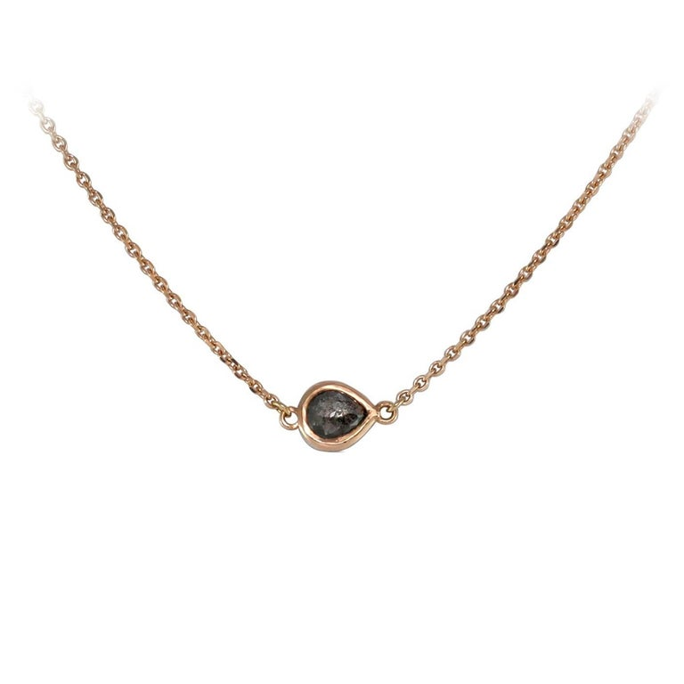 Luca Jouel Petite Charcoal Pear Diamond Necklace in Rose Gold In New Condition For Sale In South Perth, AU
