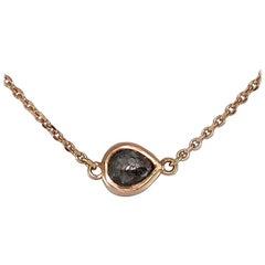 Luca Jouel Petite Rose Cut Pear Diamond Necklace in 18 Carat Rose Gold