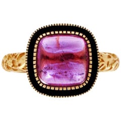 Luca Jouel Pink Tourmaline Cabochon Deco Style Statement Ring in Yellow Gold
