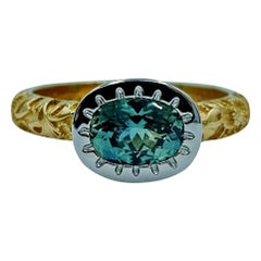 Luca Jouel Platinum and 18 Carat Yellow Gold Green Sapphire Dress Ring