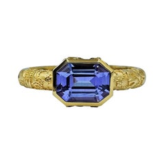 Luca Jouel Purple Sapphire Dress Ring in 18 Carat Yellow Gold