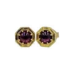 Luca Jouel Rhodolite Garnet Cabochon Deco Style Stud Earrings in Yellow Gold