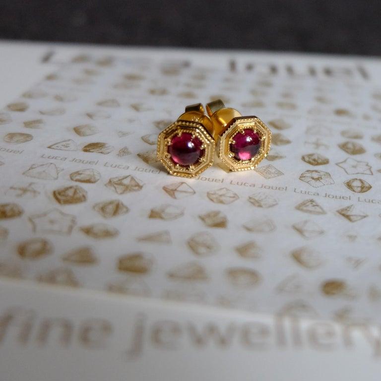 Contemporary Luca Jouel Rhodolite Garnet CabochonDeco Style Stud Earrings in 18 Carat Gold For Sale