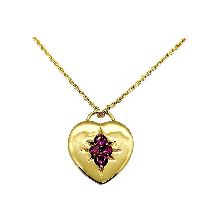 Luca Jouel Rhodolite Garnet Starr Motif Heart Necklace in Yellow Gold For Sale