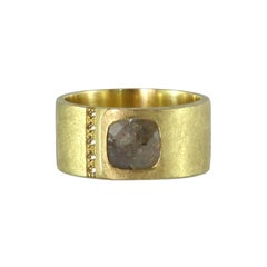 Luca Jouel Rose Cut and Champagne Diamond Gents Ring in 18 Carat Yellow Gold