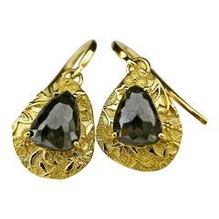 Luca Jouel Rose Cut Charcoal Pear Diamond Ornate Drop Earrings in Yellow Gold