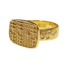 Luca Jouel Rose Cut Diamond Antique Patterned Statement Ring in 18 Carat Gold