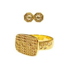 Luca Jouel Rose Cut Diamond Deco Style Stud Earrings & Dress Ring in Yellow Gold