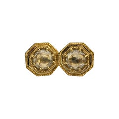 Luca Jouel Rose Cut Diamond Deco Style Stud Earrings in Yellow Gold