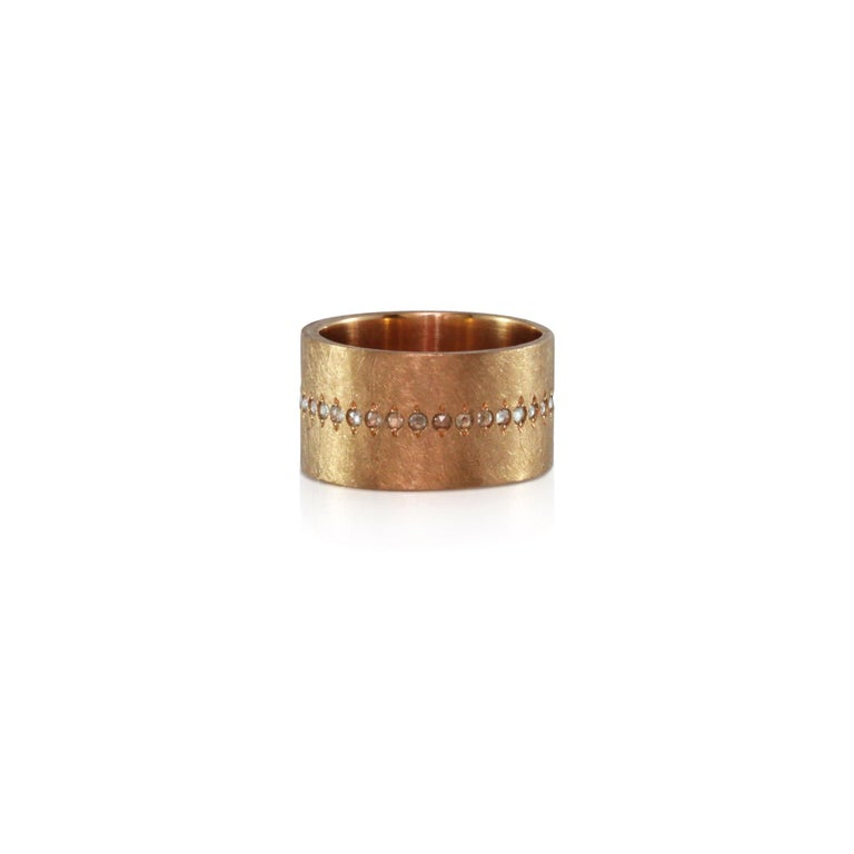Contemporary Luca Jouel Rose Cut Diamond Wide Band Ring in 18 Carat Rose Gold For Sale