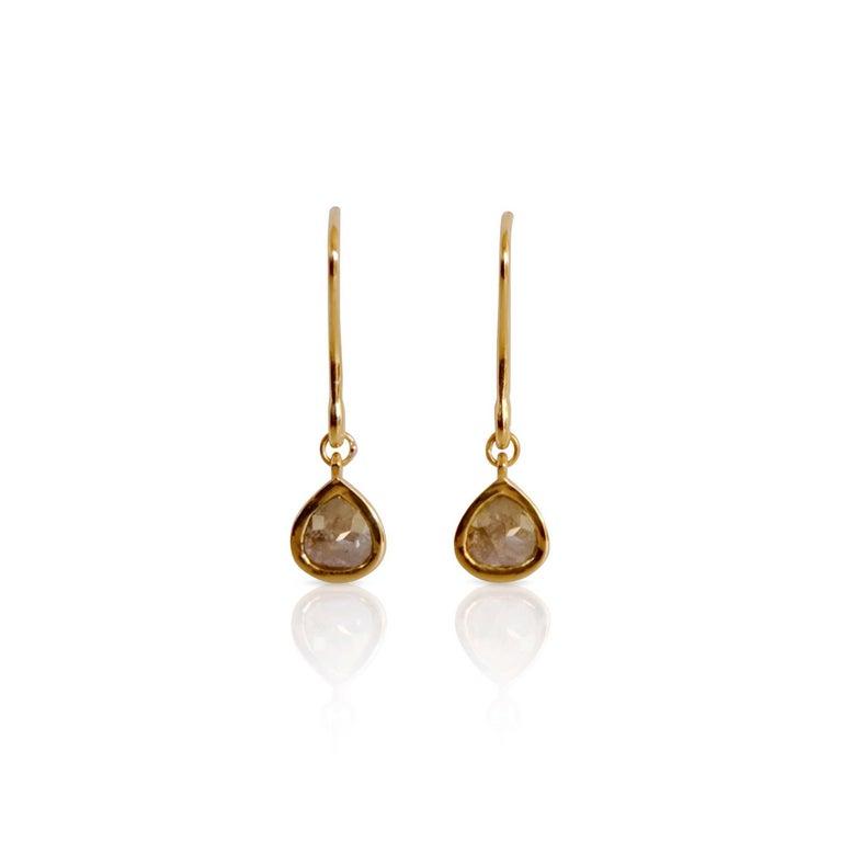 Contemporary Luca Jouel Rose Cut Pear Diamond Drop Earrings in Yellow Gold For Sale