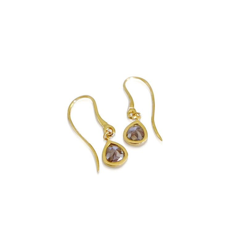 Luca Jouel Rose Cut Pear Diamond Drop Earrings in Yellow Gold In New Condition For Sale In South Perth, AU