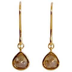 Luca Jouel Rose Cut Pear Diamond Drop Earrings in Yellow Gold