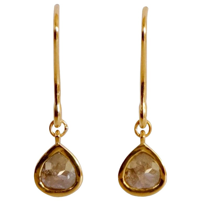 Luca Jouel Rose Cut Pear Diamond Drop Earrings in Yellow Gold For Sale