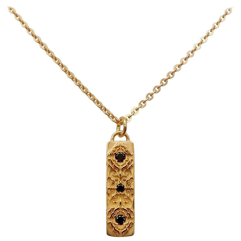 Contemporary Luca Jouel Rose Gold Black Diamond Labyrint Necklace For Sale