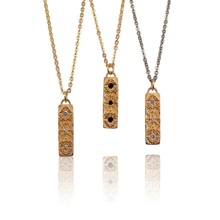 Women's Luca Jouel Rose Gold Black Diamond Labyrint Necklace For Sale