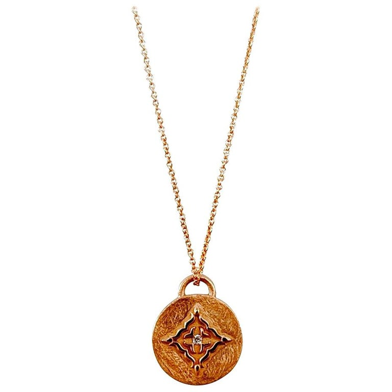 Luca Jouel Rose Gold White Diamond Circular Necklace For Sale
