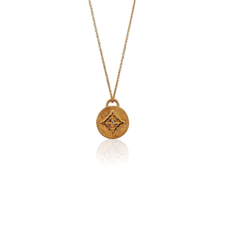Luca Jouel Rose Gold White Diamond Circular Necklace For Sale 3