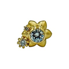 Luca Jouel Single Diamond Flower Stud Earring in 18 Carat Yellow Gold