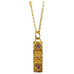 Luca Jouel Tanzanite and Diamond Labyrint Necklace in 18 Carat Yellow Gold