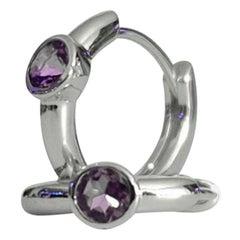 Luca Jouel Tanzanite Petite Hoop Huggie Earrings in Silver