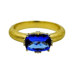 Luca Jouel Tanzanite Solitaire Ring in Yellow Gold