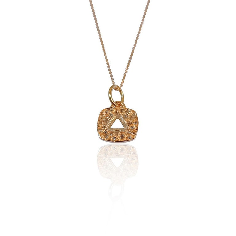 Luca Jouel Triangular Diamond Necklace in Rose Gold In New Condition For Sale In South Perth, AU