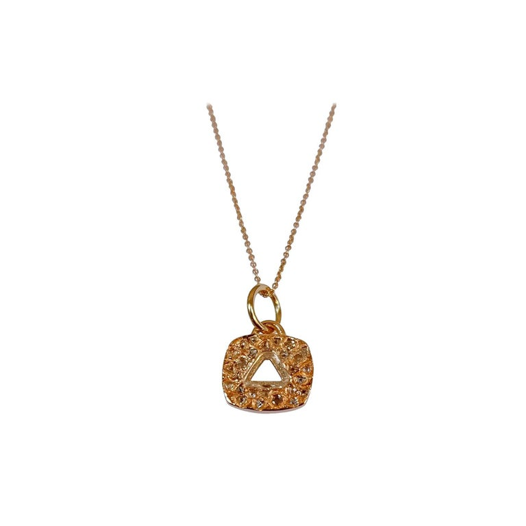 Luca Jouel Triangular Diamond Necklace in Rose Gold For Sale