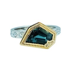 Luca Jouel Unique Teal Tourmaline and Diamond Platinum and Gold Dress Ring