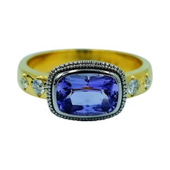 Luca Jouel Violet Sapphire and Diamond Ring in Platinum and Yellow Gold