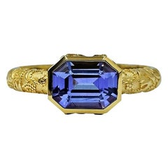 Luca Jouel Violet Sapphire Ornate Floral Ring in 18 Carat Yellow Gold