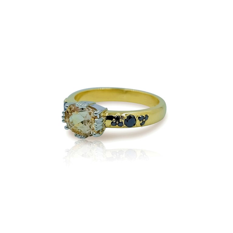 Contemporary Luca Jouel Yellow Gold and Platinum Sapphire and Black Diamond Ring For Sale