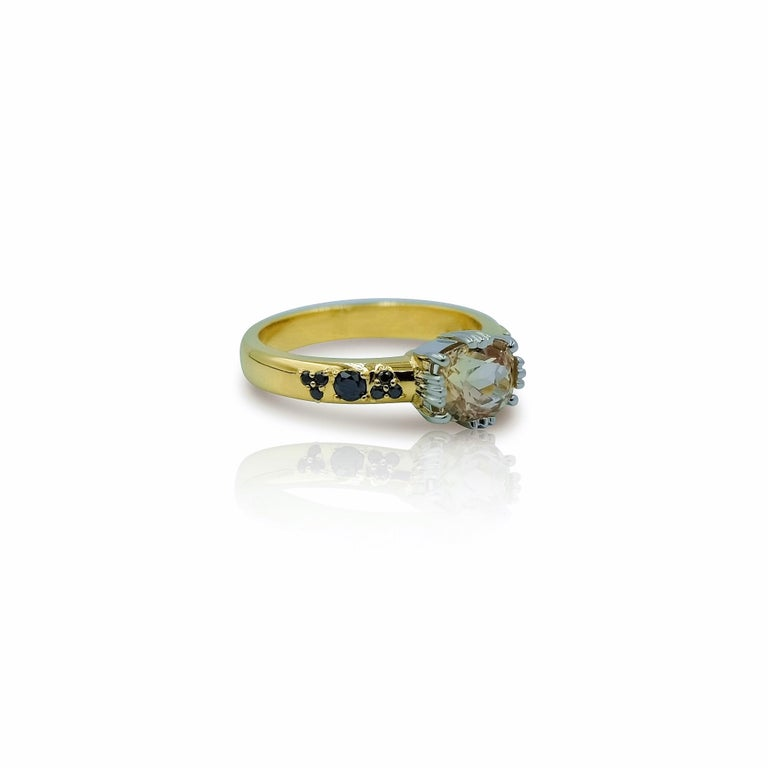 Oval Cut Luca Jouel Yellow Gold and Platinum Sapphire and Black Diamond Ring For Sale