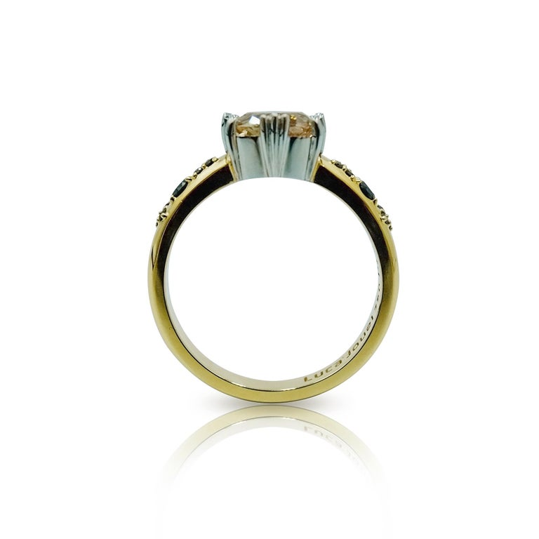 Luca Jouel Yellow Gold and Platinum Sapphire and Black Diamond Ring In New Condition For Sale In South Perth, AU