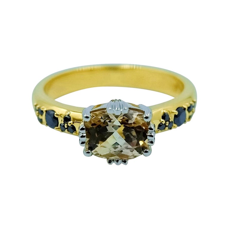 Luca Jouel Yellow Gold and Platinum Sapphire and Black Diamond Ring For Sale
