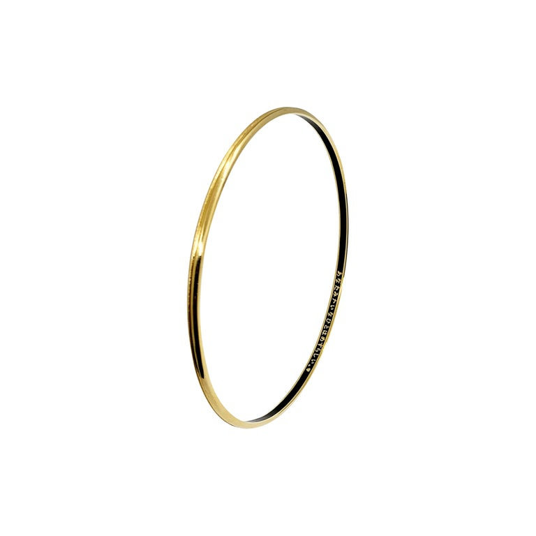 Luca Jouel Yellow Gold Grooved Bangle with Black Enamel For Sale