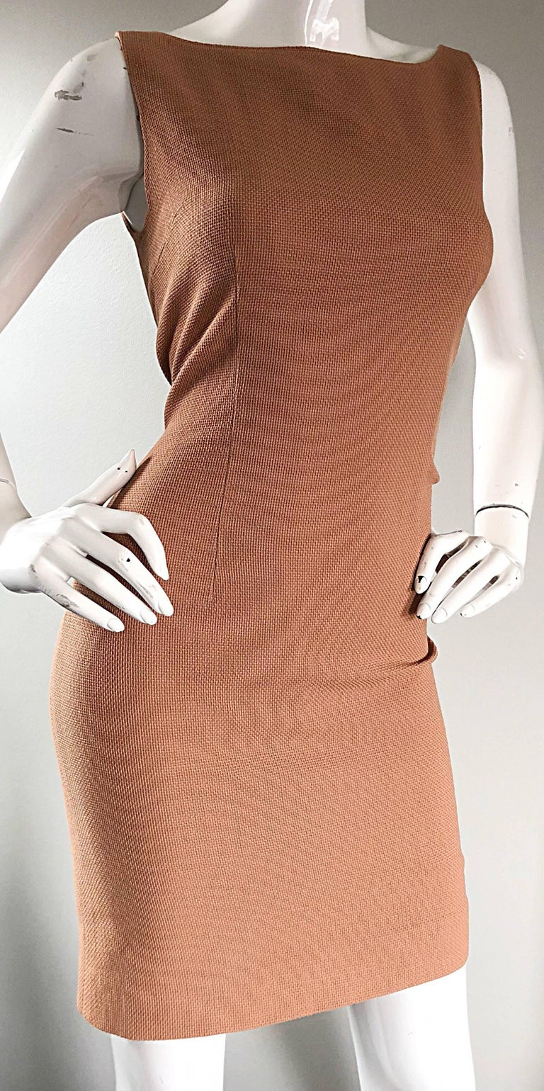 Luca Luca 1990s Terra Cotta Tan Sz 8 / 10 Virgin Wool Italian Vintage 90s Dress In Excellent Condition For Sale In Chicago, IL