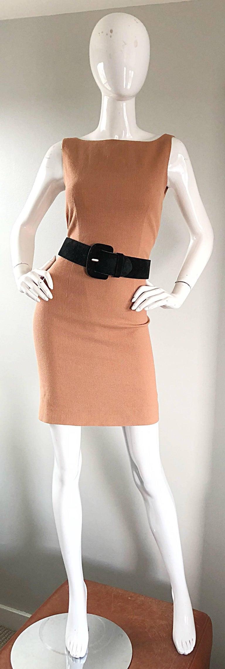 Women's Luca Luca 1990s Terra Cotta Tan Sz 8 / 10 Virgin Wool Italian Vintage 90s Dress For Sale
