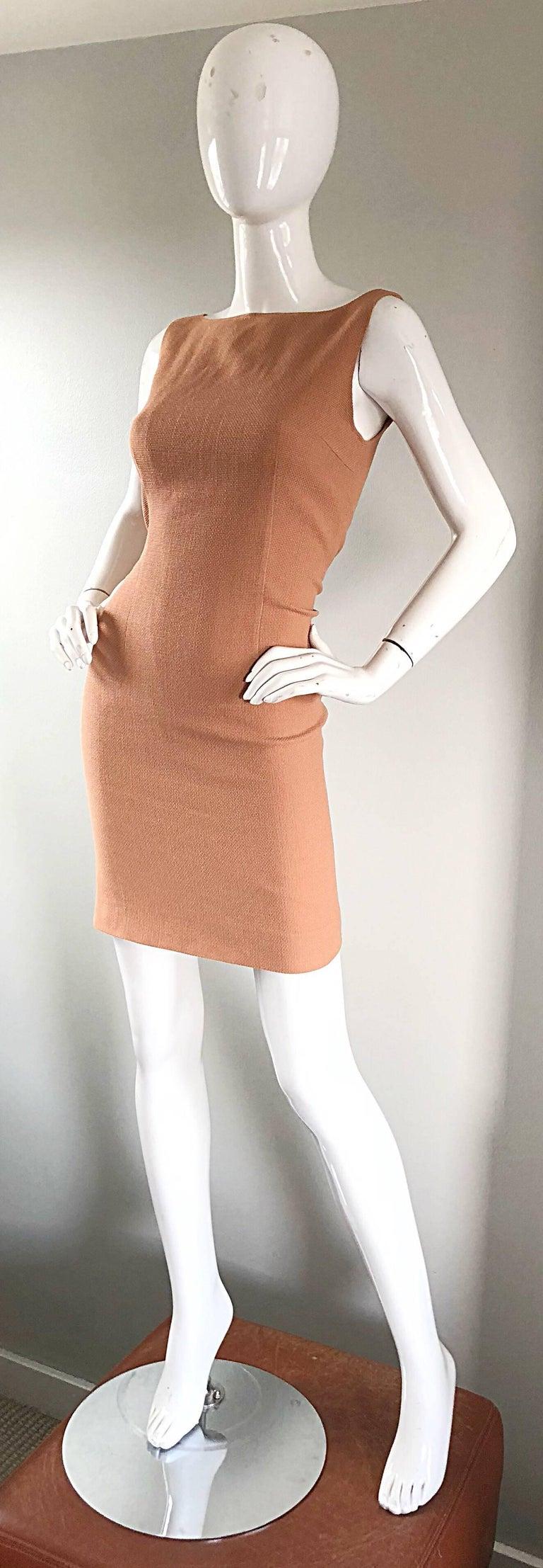 Luca Luca 1990s Terra Cotta Tan Sz 8 / 10 Virgin Wool Italian Vintage 90s Dress For Sale 1