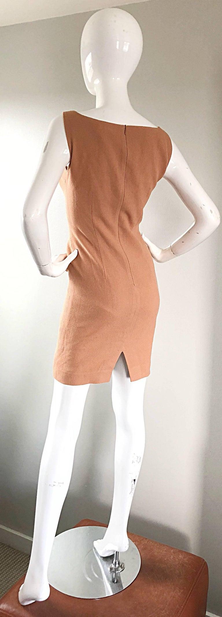 Luca Luca 1990s Terra Cotta Tan Sz 8 / 10 Virgin Wool Italian Vintage 90s Dress For Sale 2