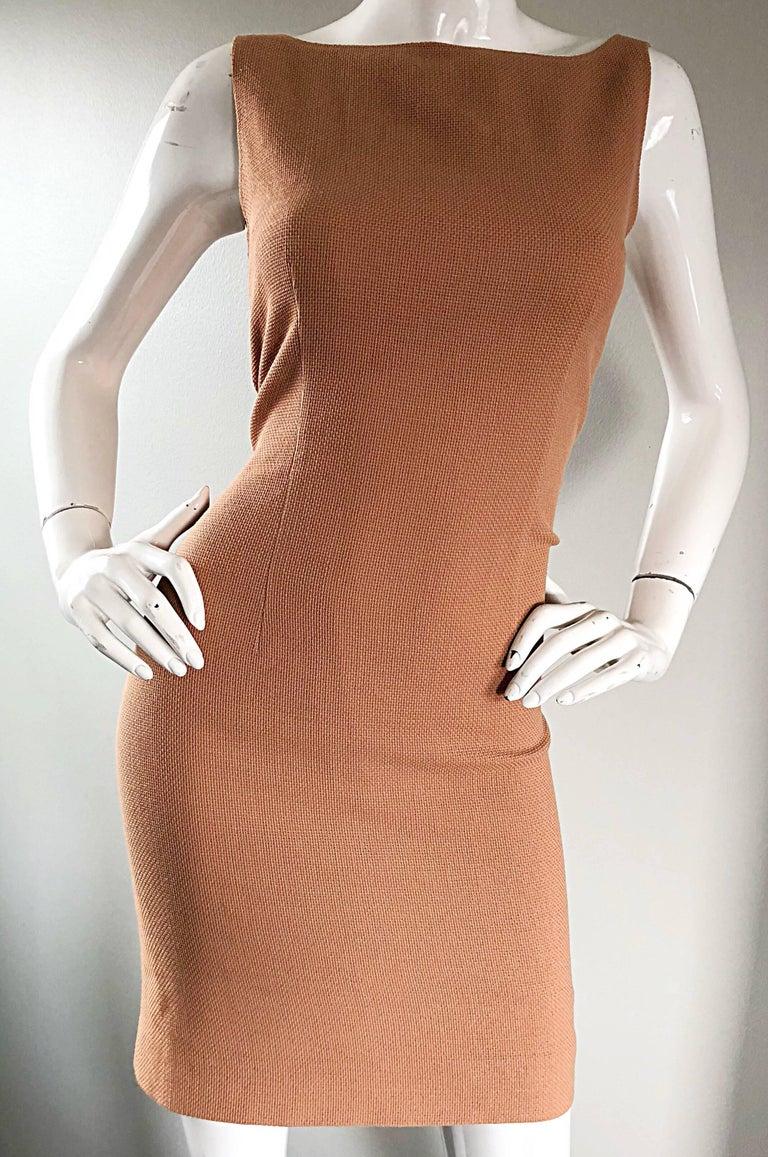 Luca Luca 1990s Terra Cotta Tan Sz 8 / 10 Virgin Wool Italian Vintage 90s Dress For Sale 3