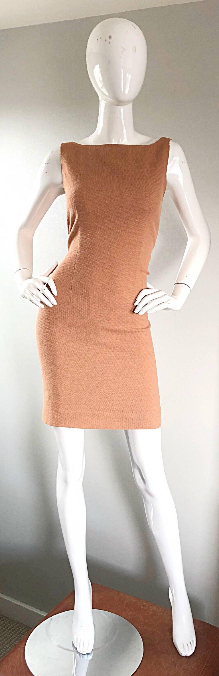 Luca Luca 1990s Terra Cotta Tan Sz 8 / 10 Virgin Wool Italian Vintage 90s Dress For Sale 4